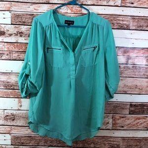 EUC Lg Green semi sheer tunic